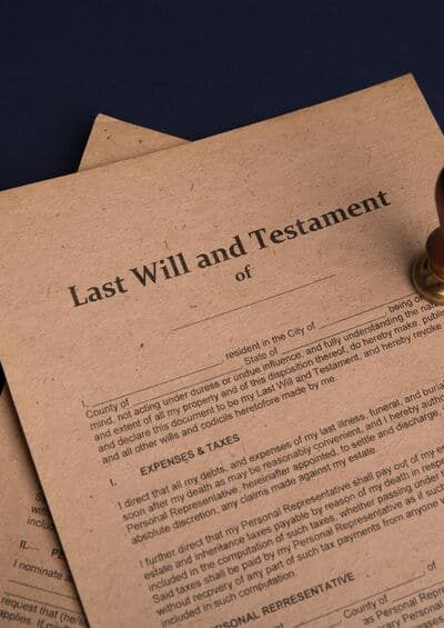 Notary's public pen and stamp on testament and last will. Notary public tools